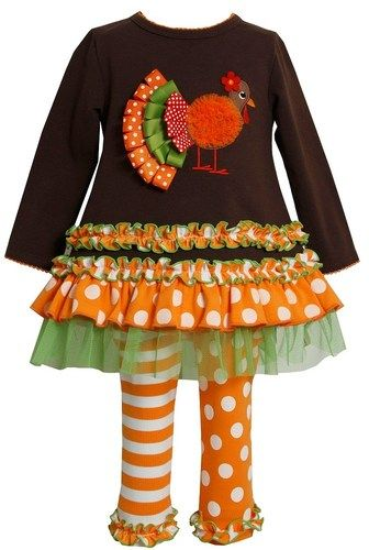 0c71be8194f Bonnie Jean Baby Girl Thanksgiving Turkey Tail Brown Dress Outfit Legging  12M