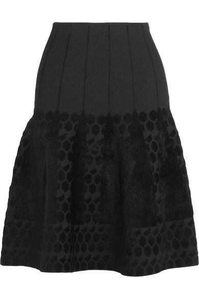 ROLAND MOURET Flocked Bonded Stretch-Jersey Skirt. #rolandmouret #cloth #skirts
