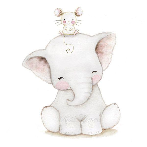 Childrens illustration Elephant baby