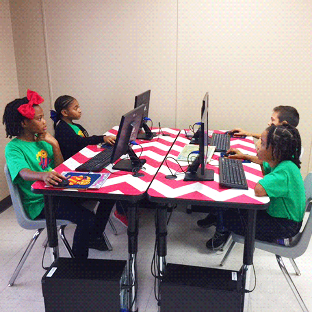 The Students At Beta Academy In Houston Tx Enjoy A Collaborative Computer Lab With Hercules Group Activity Tables Photo Activity Table Classroom Tables Table