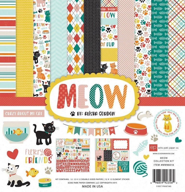 Echo Park MEOW 12x12 Scrapbook Kit Cat Kitten Pet Papers + Stickers - ebay spreadsheet