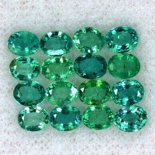 3.95 Cts Natural Top Green Emerald Loose Gem Oval Cut Lot Zambia Untreated 16Pcs