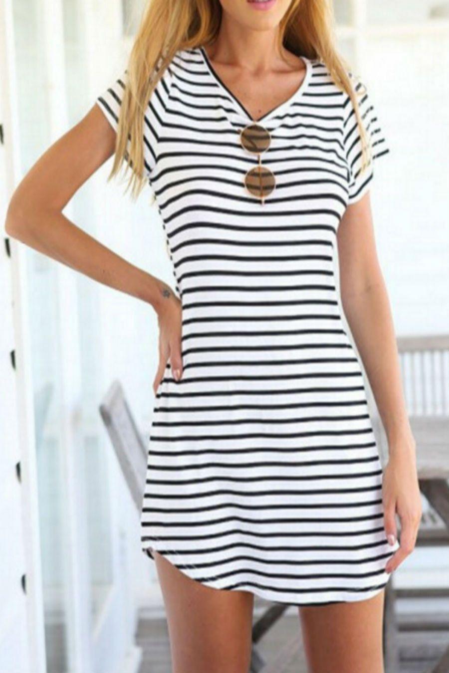 Striped Summer Dress Short Sleeve Shift Dress Striped Dress Summer Fashion [ 1350 x 900 Pixel ]