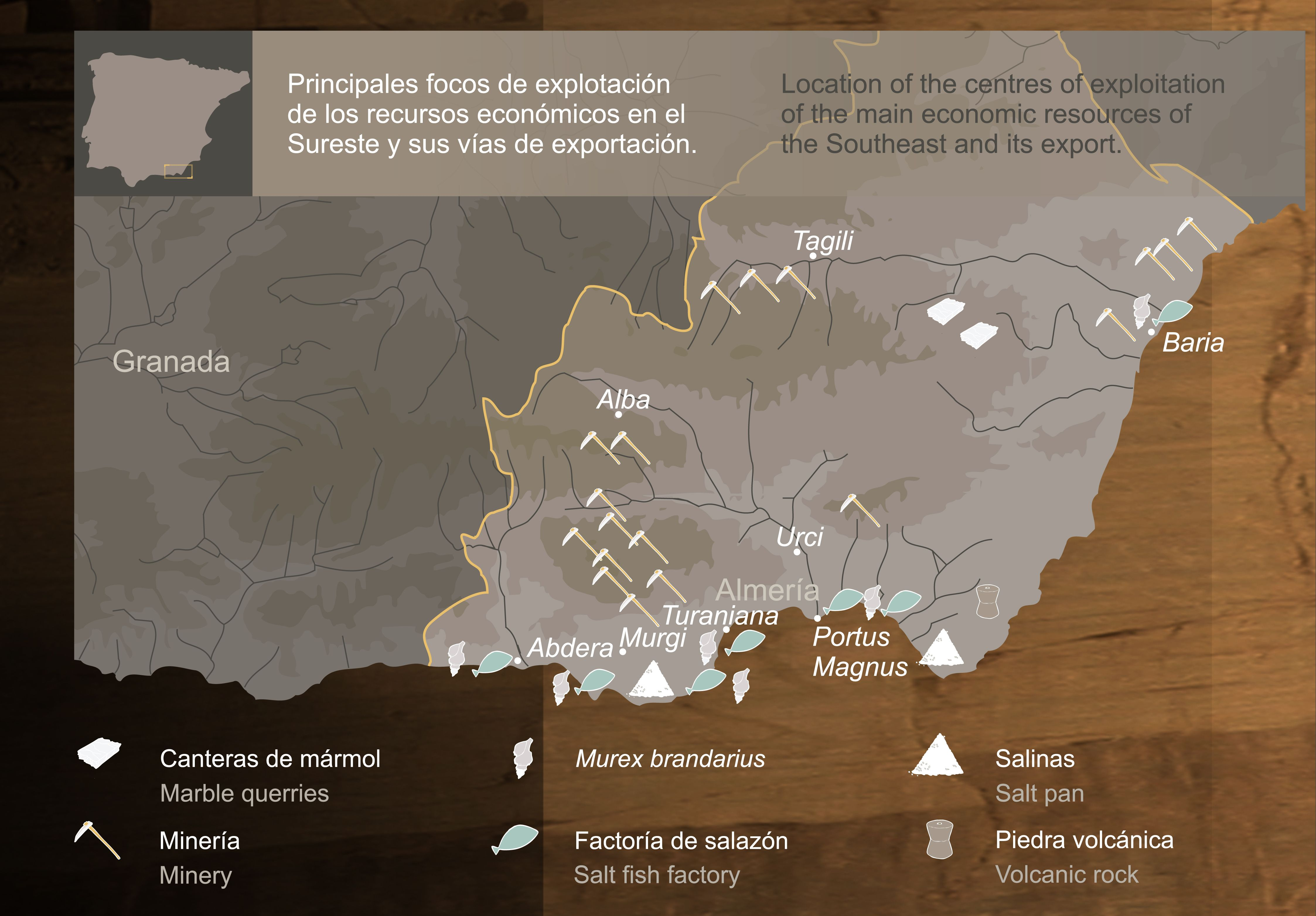 9 El Mapa Recoge Las Principales Zonas De Explotación De Recursos Naturales En El Sureste Y Sus Vías De Explotacion De Recursos Naturales Mapas Prehistoricas