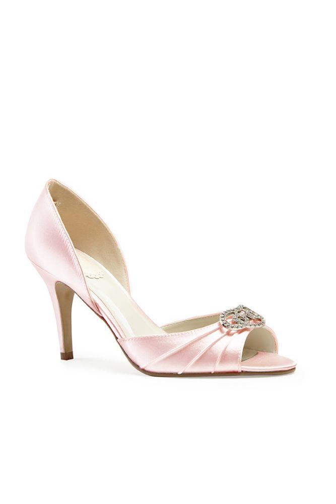 Satin D Orsay Peep Toe Heels with Crystals - Blush (Pink) 5c438759c4