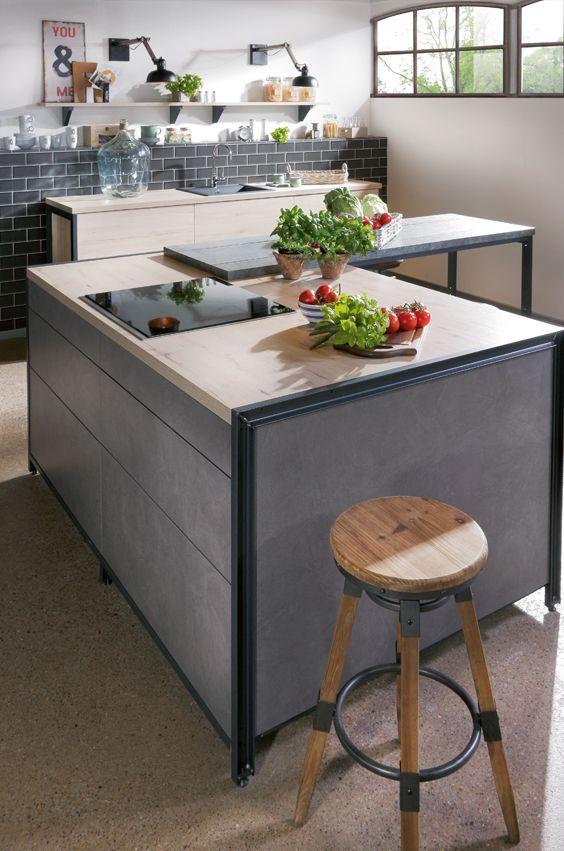 k cheninsel im beton dekor typisch f r den industrial. Black Bedroom Furniture Sets. Home Design Ideas