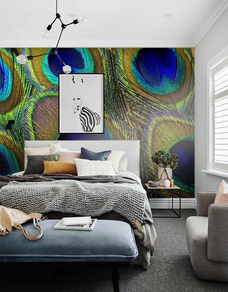 3D Details, Peacock feather Wallpaper, Removable Self