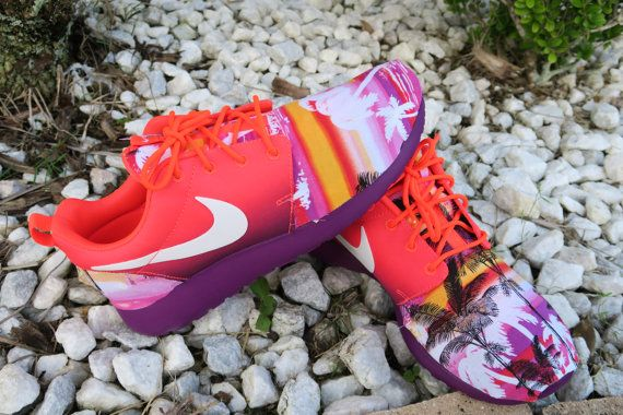 412d7ebd0ec9a Custom Aloha Sunset Roshe Run Orange   Purple Neon Design