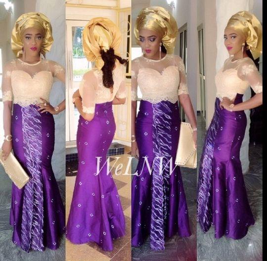 Purple and gold lace dress