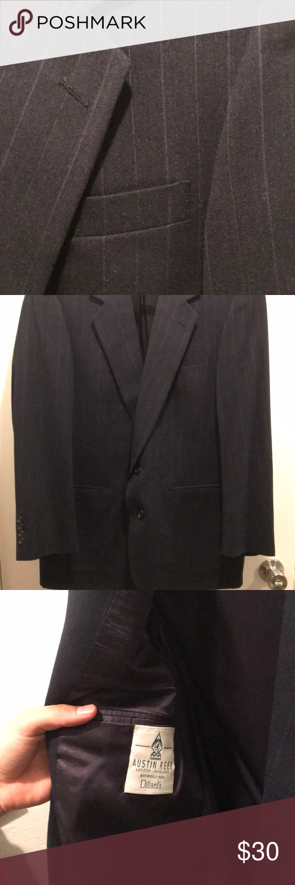 Dark Navy Blue Suit With Gray Pinstripes Austin Reed Stand Alone Blazer Blue With Gray Pinstripes Austin Ree Navy Blue Suit Dark Navy Blue Suit Blue Suit