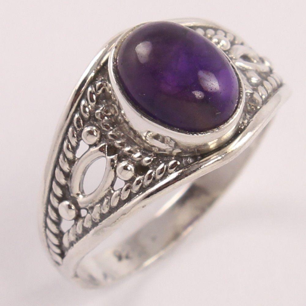 Natural AMETHYST Oval Cabochon Gems 925 Sterling Silver Ring Size US 8 ! Trader #Unbranded