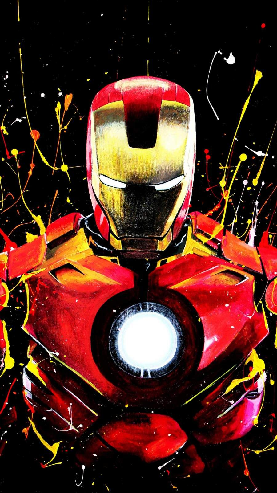 Iron Man Color Paint Art IPhone Wallpaper (With images