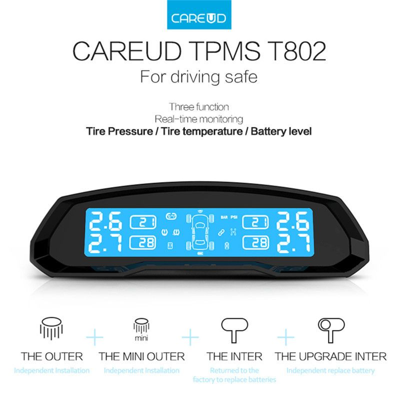 Careud T802 Solar Power Car Tpms Tire Pressure Monitoring System Wireless Lcd Display 4 Internal Sens With Images Tire Pressure Monitoring System Car Electronics Real Time