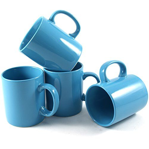 Omniware 11 Ounce Classic Turquoise Ceramic Coffee Mug Set of 4 ...