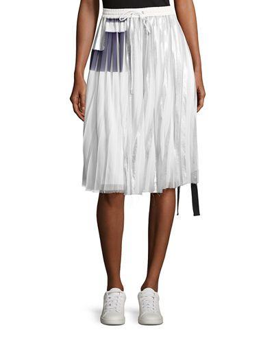 PUBLIC SCHOOL Blaise Pleated Metallic Drawstring Skirt, Off White. #publicschool #cloth #