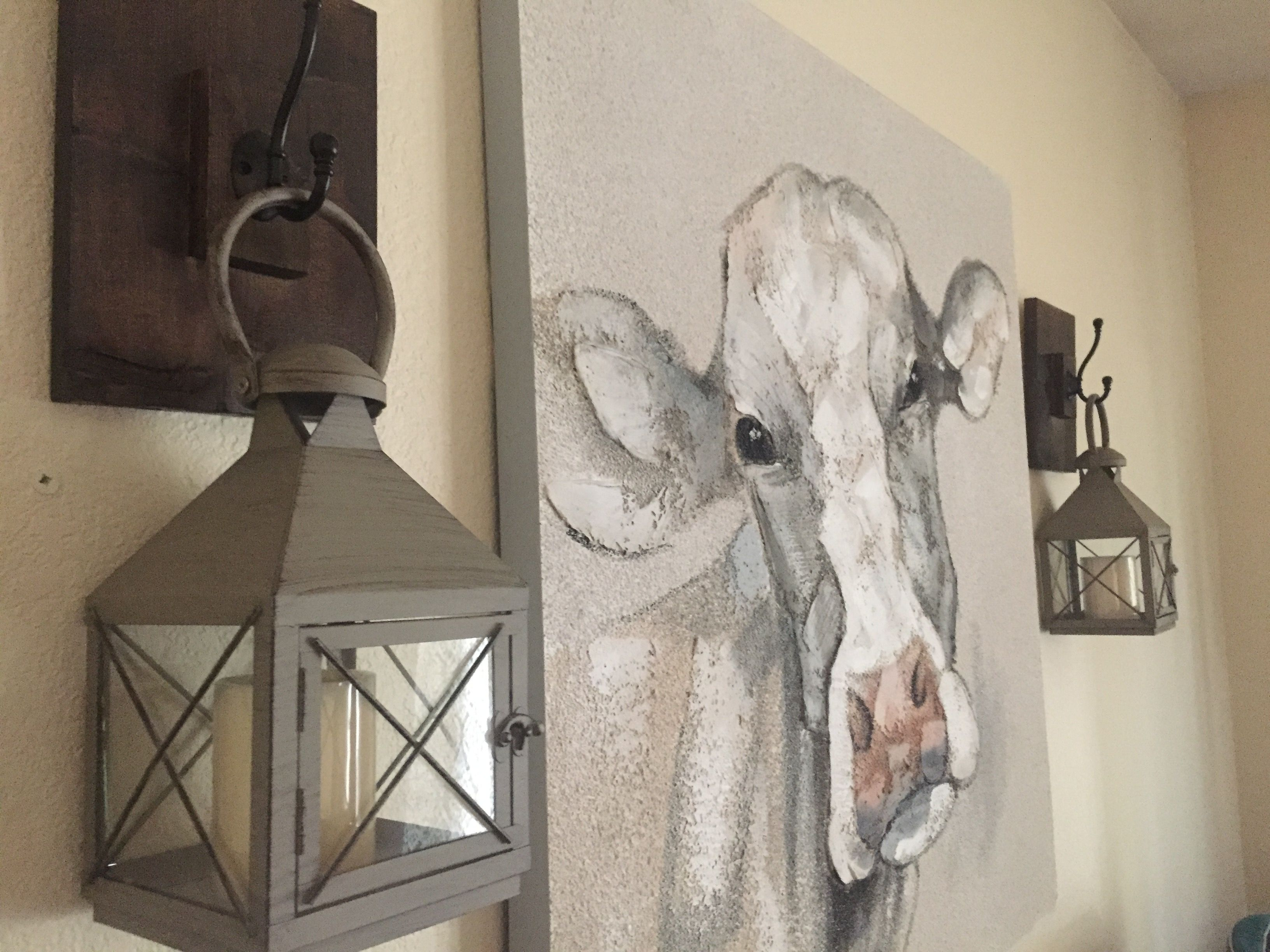 Farmhouse Decor With Cow Picture Handmade Lantern Holders And Lanterns Vintage Room Cute Home