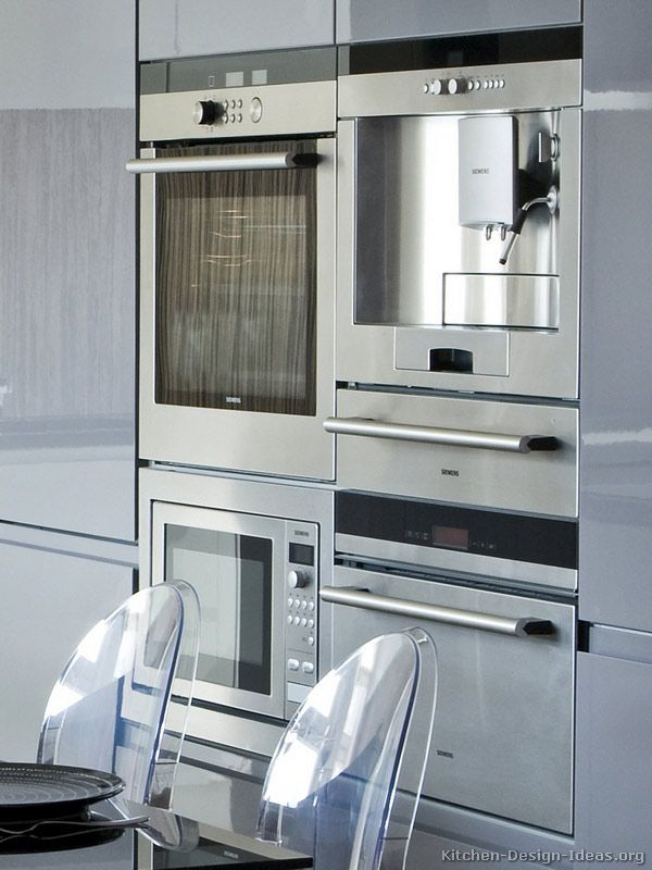 luxury kitchen appliances - built-in oven, coffee maker, microwave