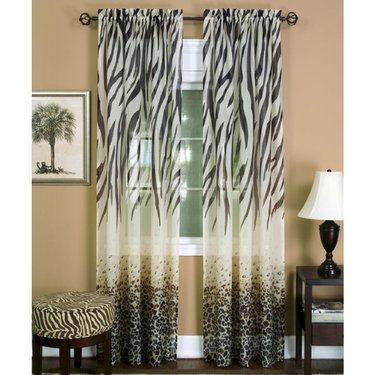 Kenya Safari Brown Animal Print Semi Sheer Curtain Panel Sheer