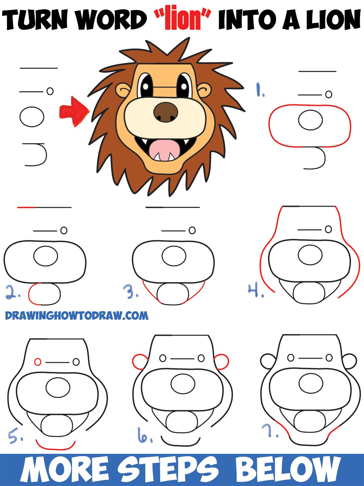 How to turn the word lion into a cartoon lion easy step by step drawing tutorial for kids