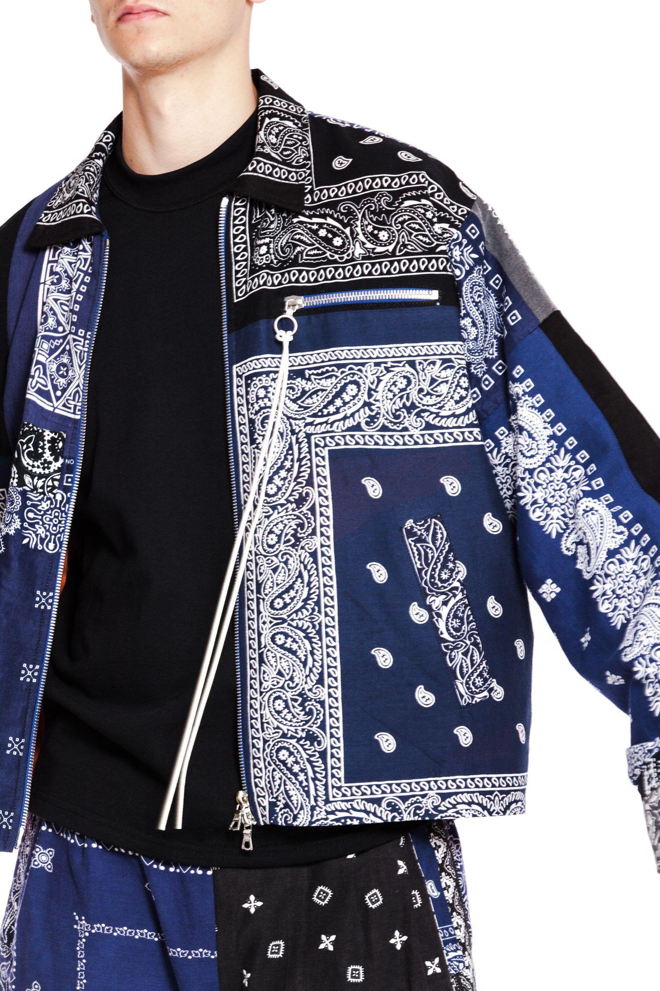 Patchwork Bandana Jacket Streetwear Fashion Streetwear Men Outfits Fashion [ 2000 x 1333 Pixel ]