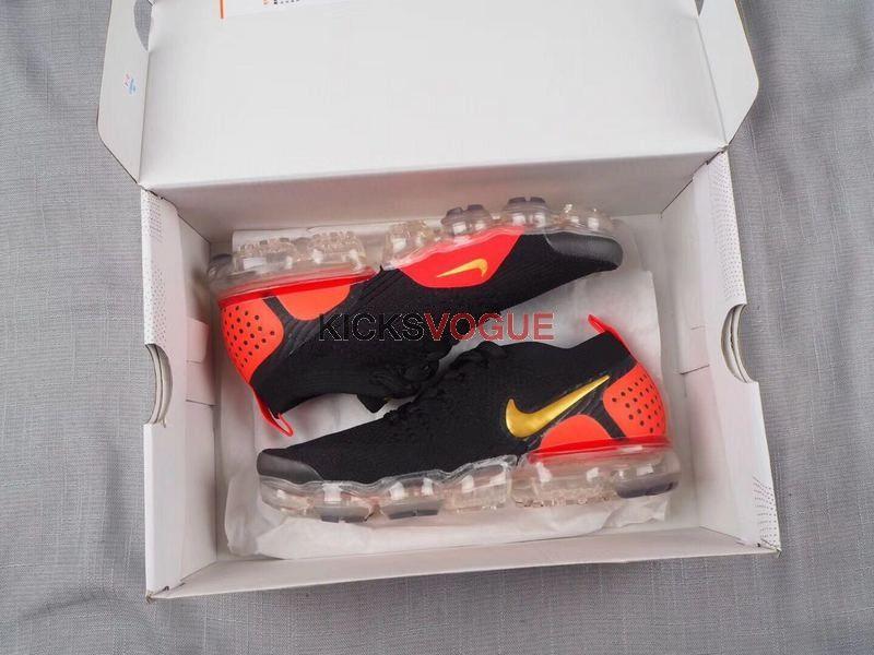 e51fc0cc9544 Nike Air Vapormax Flyknit 2.0 Black Laser Orange Hot Punch Crimson 942842- 005 Athletic Shoes Clothing