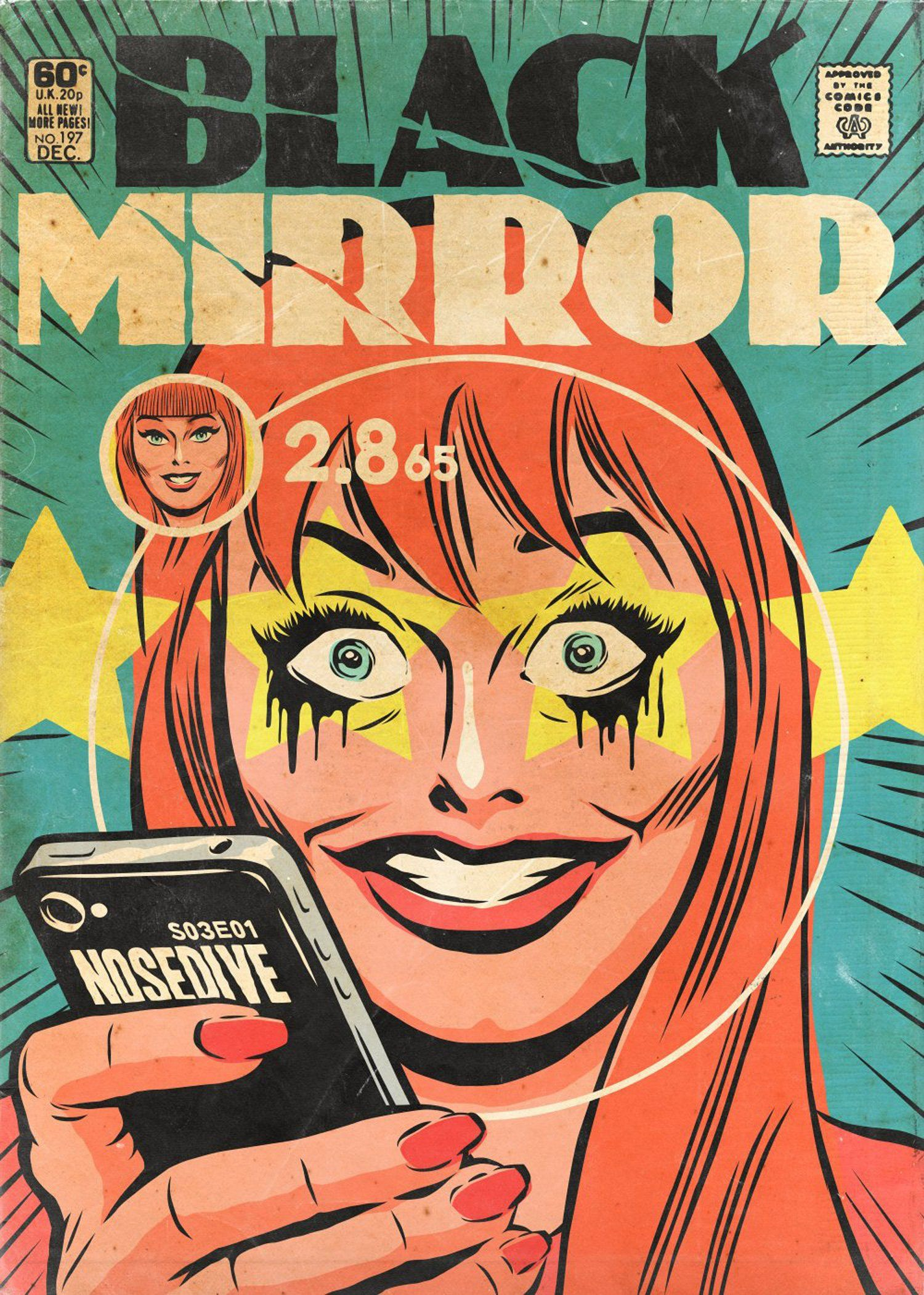 Black Mirror Episodes Turned Into Golden Age Comic Covers By Artist Butcher Billy Digital Arts Classic Comic Books Black Mirror Classic Comics