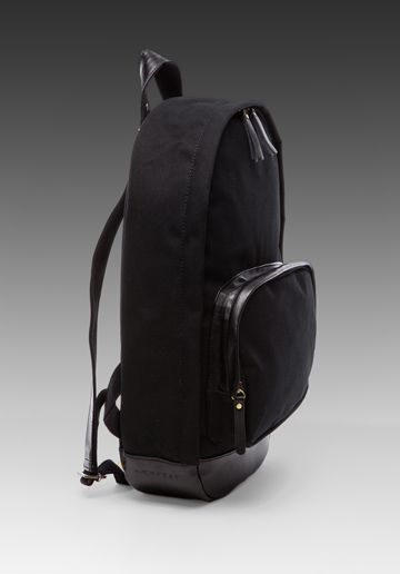 Black Backpack w/Leather Detail