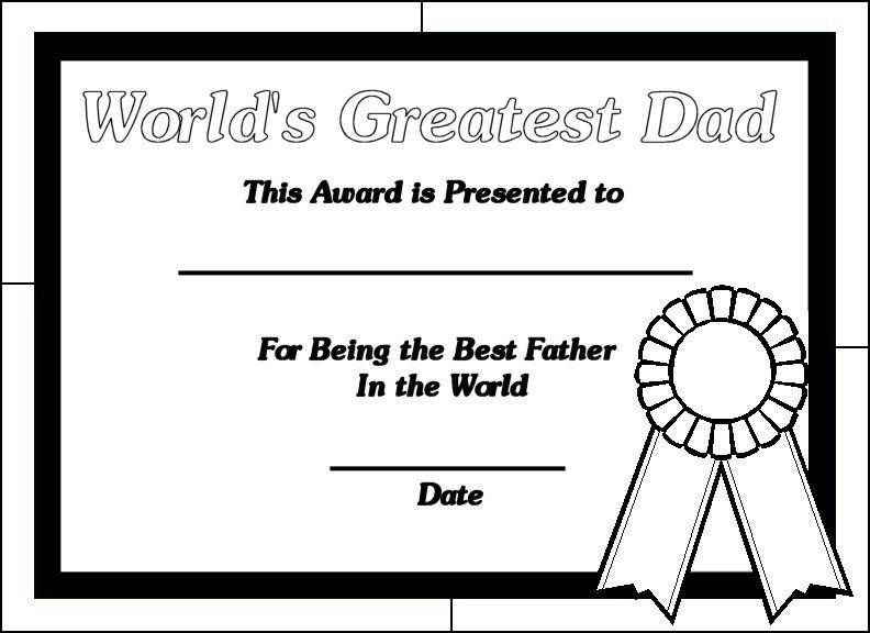 Fathers Day Coloring Pages Certificate Printable