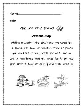002 Summer Vacation Writing Prompt Writing prompts