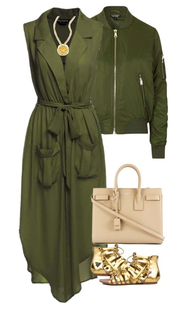 """""""Green and Gold"""" by brooklynbeatz ❤ liked on Polyvore featuring Topshop and Yves Saint Laurent"""