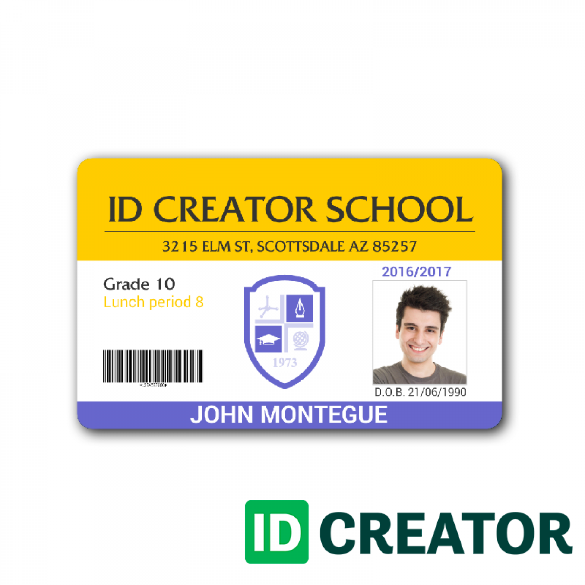 hight resolution of child id card template