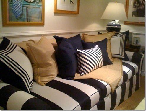 navy white stripe sofa OceanCountry Home Pinterest Fabric