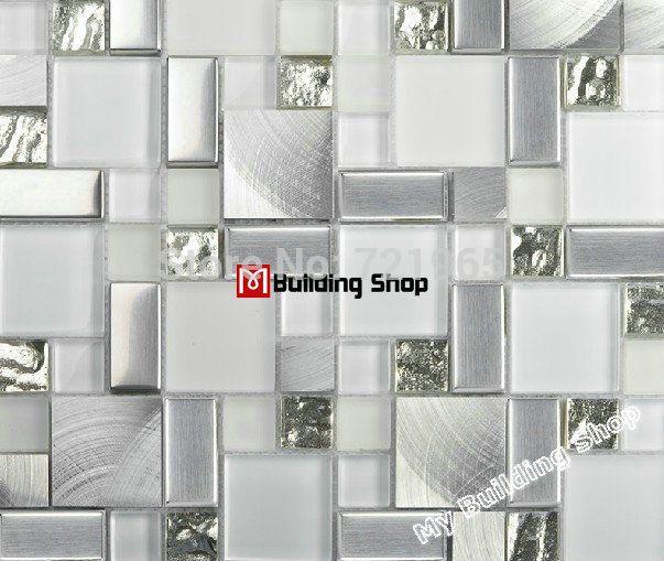 Glass mosaic kitchen backsplash tile SSMT104 silver