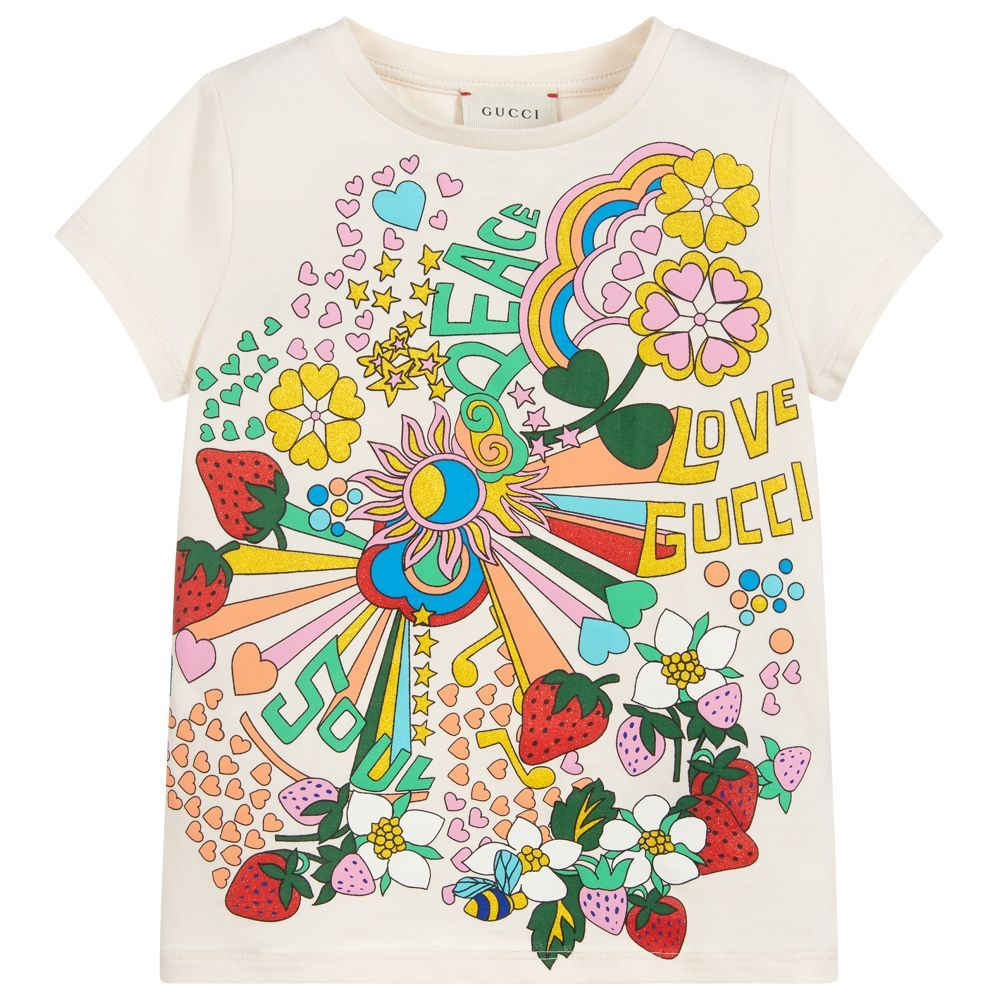 d7a8f9cf Girls Ivory Cotton T-Shirt | L&C Reveal New 2 | Gucci kids, T shirt ...
