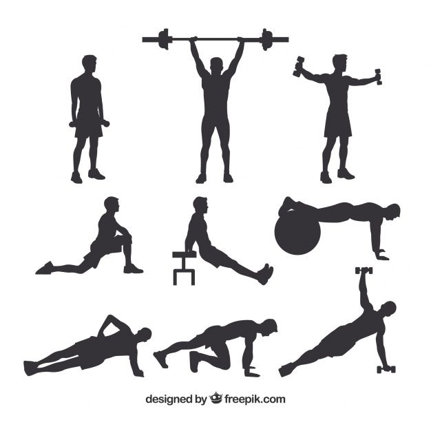 Download Set Of Male Crossfit Silhouettes For Free Soccer Backgrounds Vector Free Silhouette Free