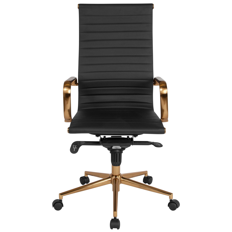 Flash Furniture High Back Black Ribbed LeatherSoft