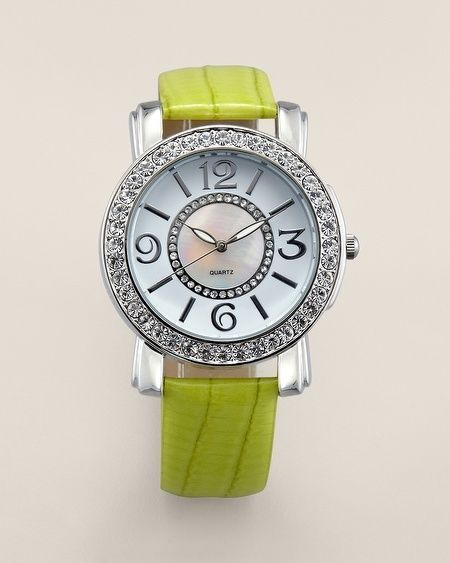 Chico's Chic Limette Leather Watch, Silver & rhinestone bezel. NWT. Retail $59.