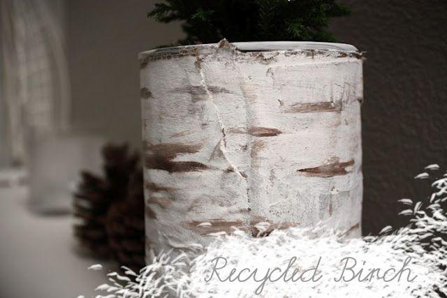 DIY Fake Birch Bark From Cardboard And Paint Making This - Beautiful diy birch bark lamp