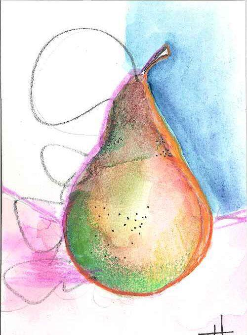 Cool Art deco pear.  Graphite, colored pencil, watercolor ACEO.  #StudioB3Arts by Heidi Lumpkin.  ©2016