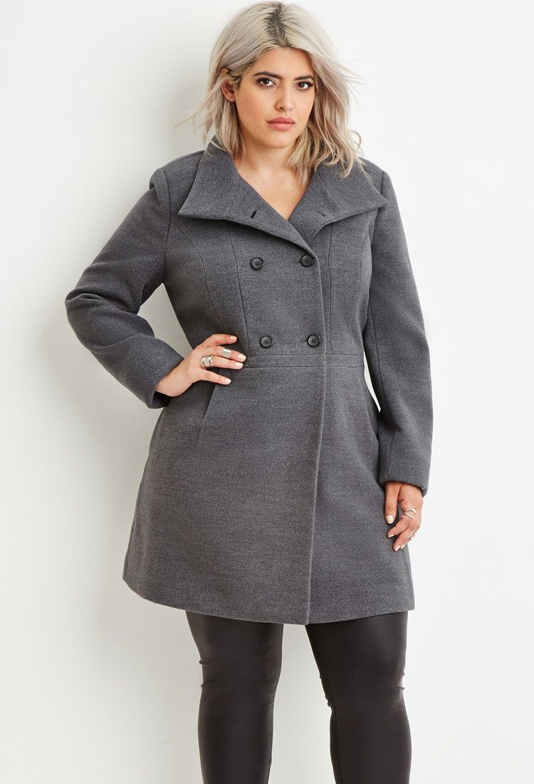 c3c1f1eae90fe Plus Size Double-Breasted Pea Coat