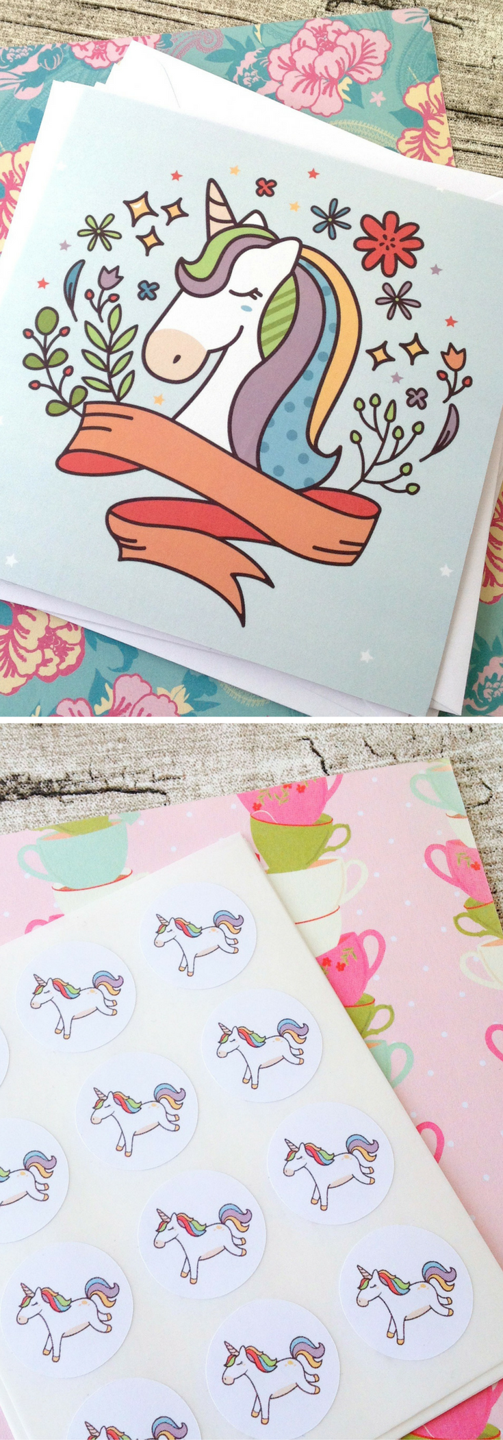 Kawaii unicorn greeting cards kawaii snail mail unicorn birthday