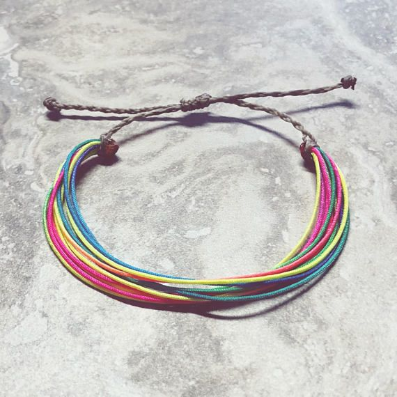 Neon Colors - Friendship Bracelets - Waxed Polyester Cord - Multi ...
