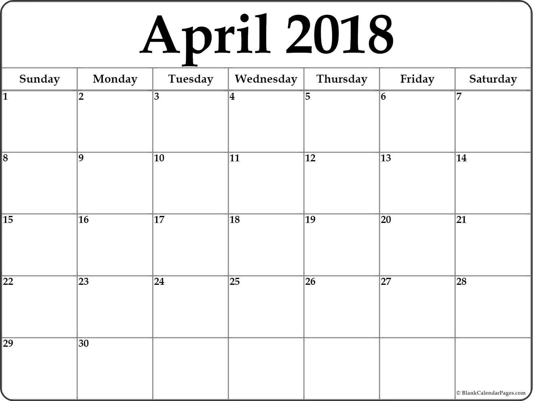 2018 calendar blank