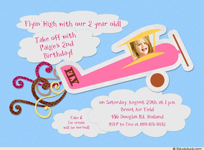 Pink plane birthday invitation party take off little girls girl airplane invitation filmwisefo