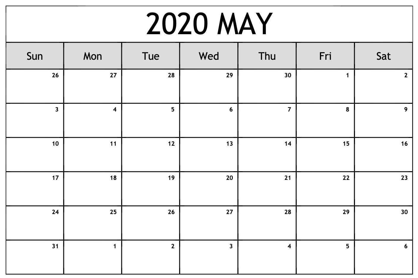 May 2020 Calendar Pdf Excel Word Printable Templates With