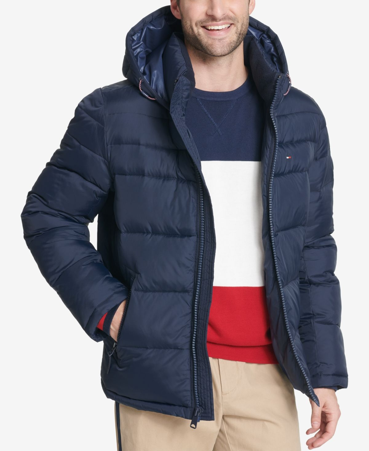 Tommy Hilfiger Men's Big & Tall Quilted Hooded Puffer