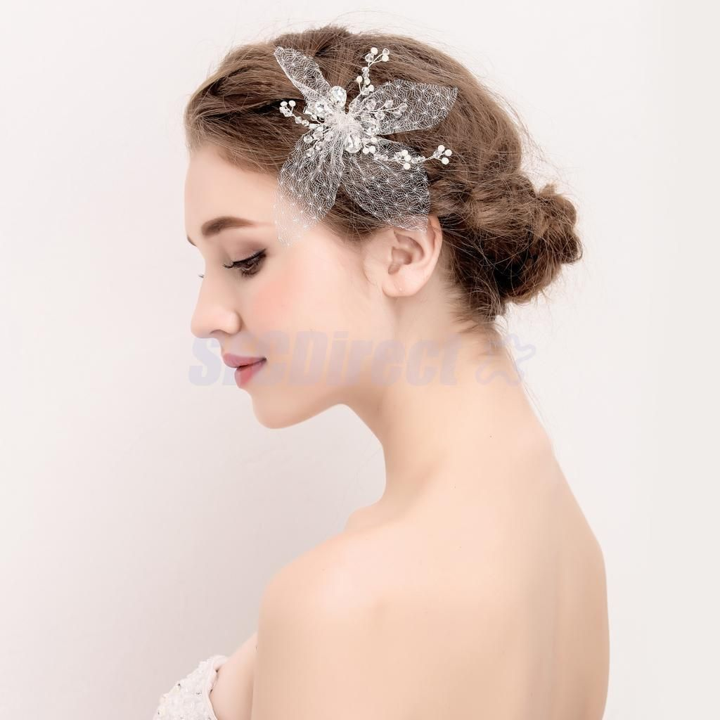 Vintage White Pearl Mesh Flower Wedding Bridal Hair Clip Hair Grips & Slides | eBay
