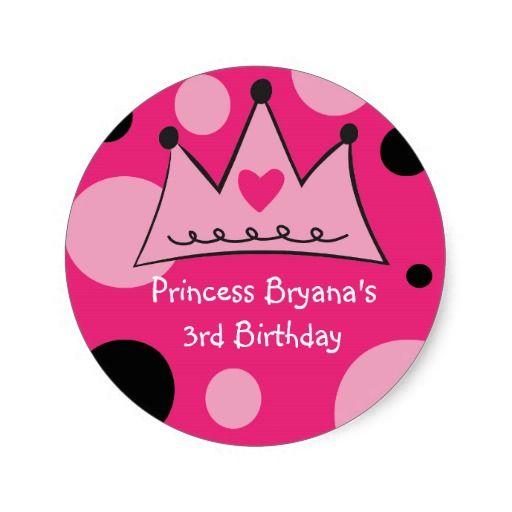 Pink & Black Princess Crown Birthday Party Sticker