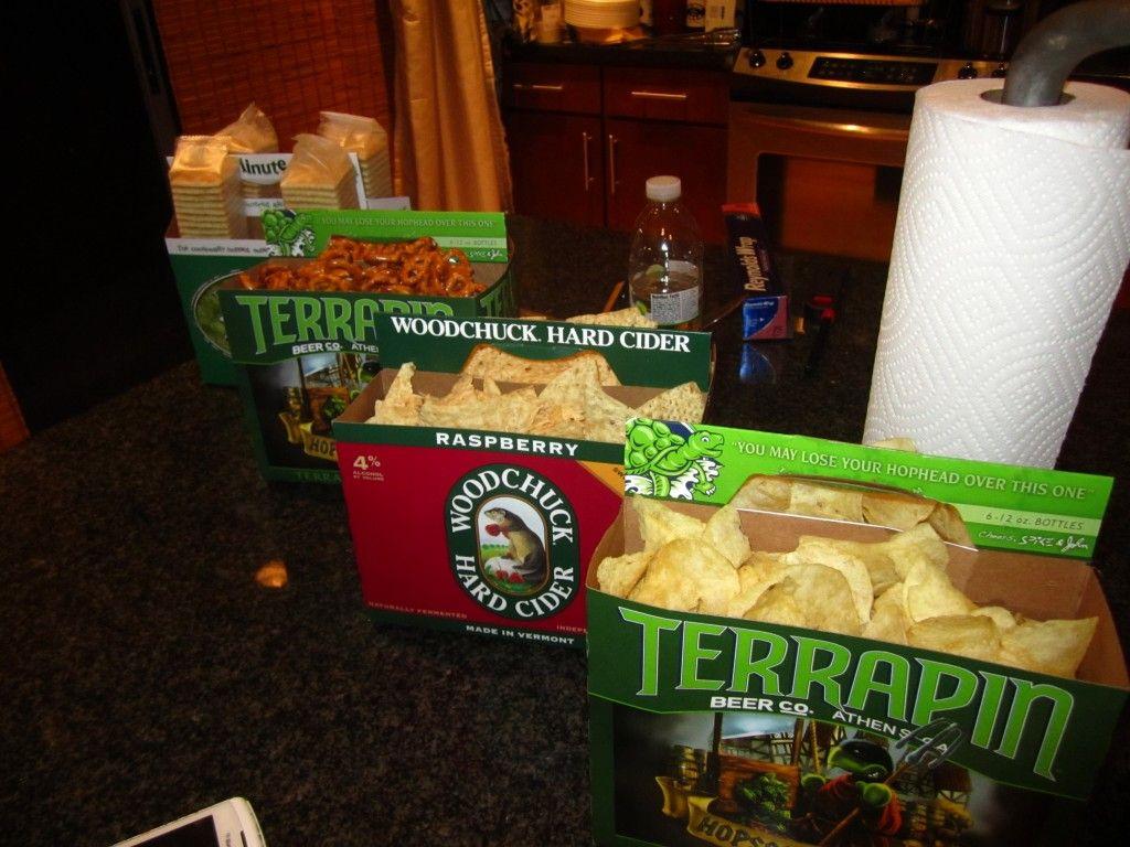 Snacks in empty beer cartons at my boyfriends 30th birthday beer