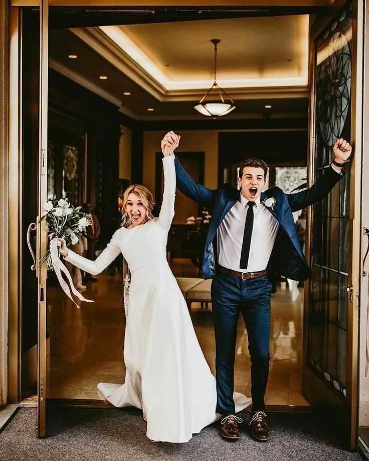 Wedding Photos bride and groom walking out of church picture - Everything you need to plan your wedding, literally! Wedding dresses, planning tools, wedding ideas, inspiration, photos, plus the best wedding vendors.